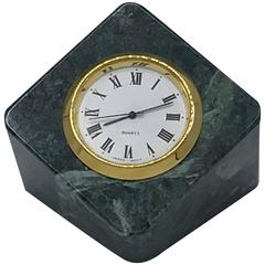 1960's Green Stone and Brass Desk Clock