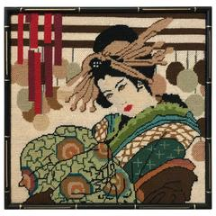 1960s Needlepoint Geisha with Faux Bamboo Frame