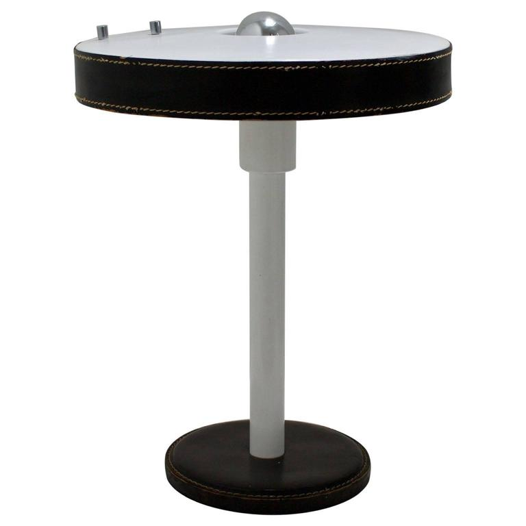 Modernist Table Lamp with Black Leather Details