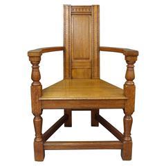 EW Godwin Elizabethan Gothic Revival oak Shakespeare armchair c1880s