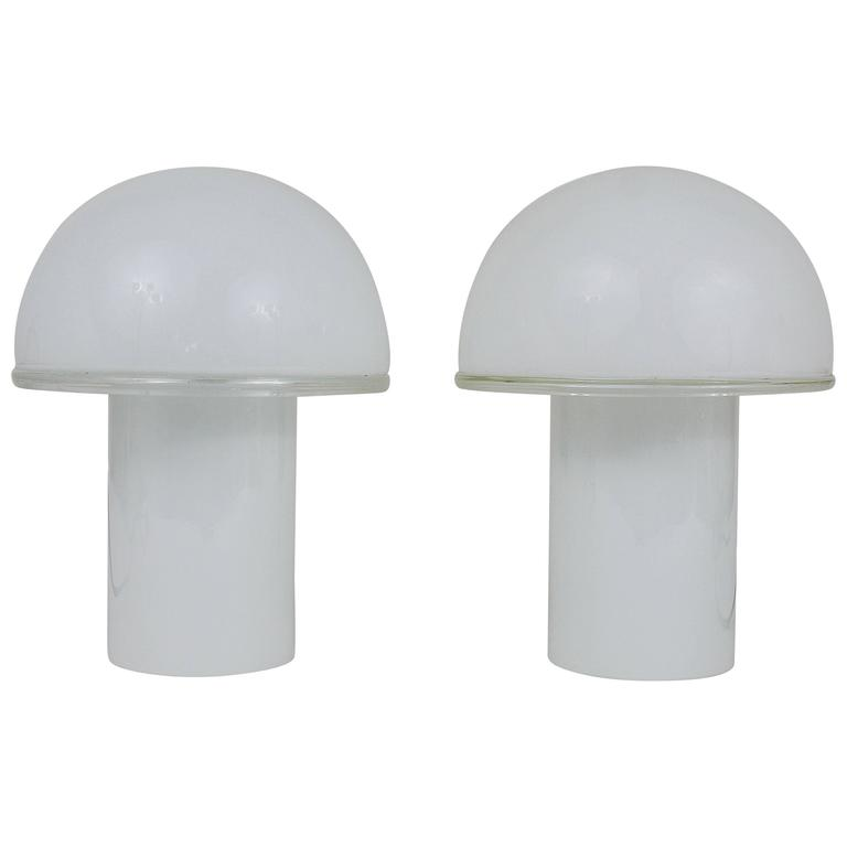 Two white artemide onfale mushroom murano glass table lamps luciano two white artemide onfale mushroom murano glass table lamps luciano vistosi for sale aloadofball