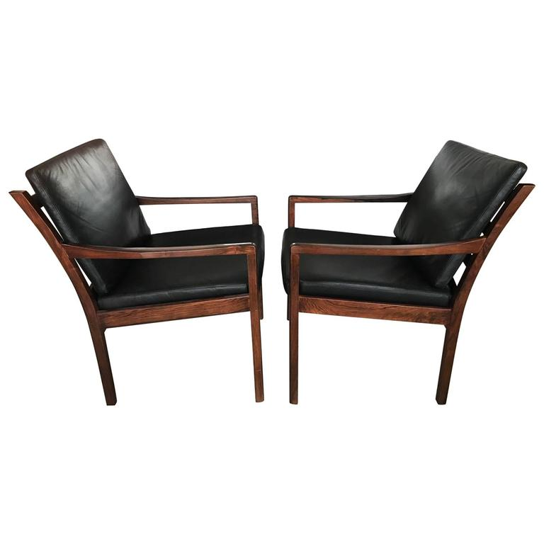Pair of Fredrik Kayser Rosewood Chairs For Sale