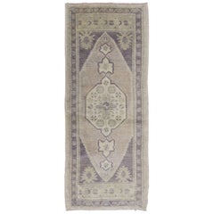 Vintage Turkish Oushak Carpet with Medallion in Dark Gray/Purple and Ivory