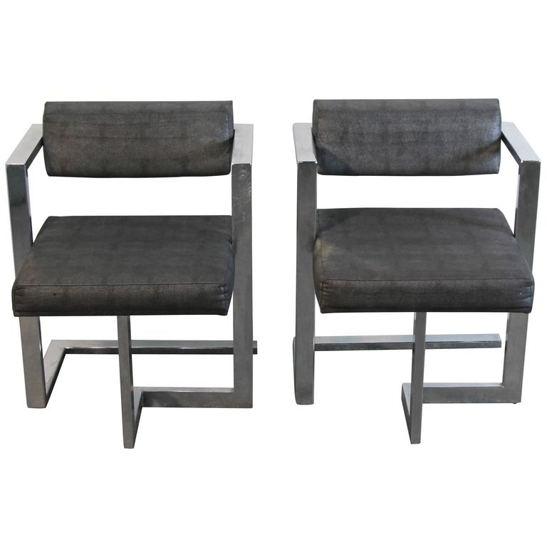 Pair of Baughman Style Brushed Steel Floating Square Chairs For Sale