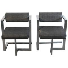 Pair of Baughman Style Brushed Steel Floating Square Chairs