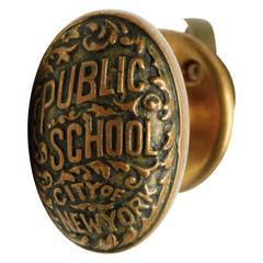 1930s Bronze City of New York Public School Door Knob and Closet Latch Set