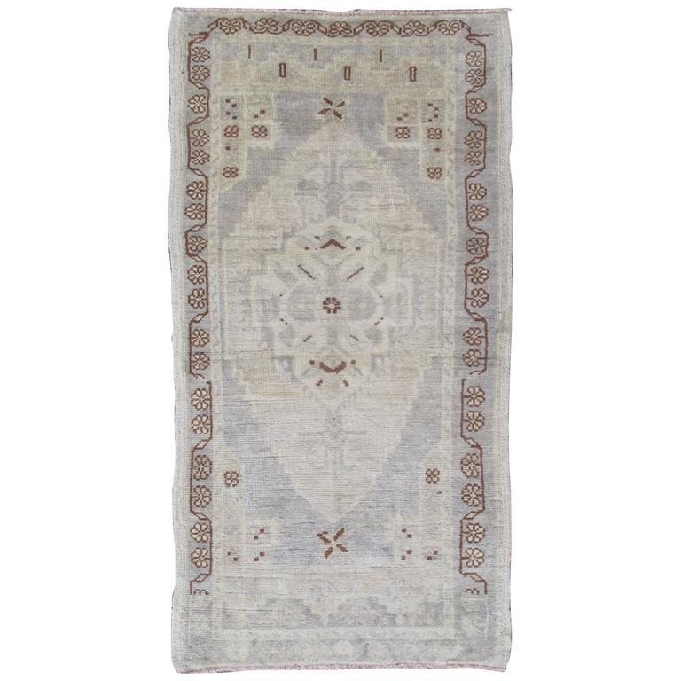 Vintage Turkish Oushak Carpet with Central Medallion in Dark Brown, Ivory & Gray