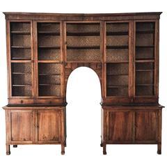 Large 19th Century Empire Walnut Bookcase, Italian Two-Tier Bibliothéque