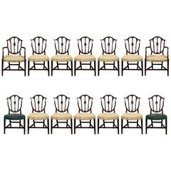 Set of 14 Classic Shield Back Dining Chairs