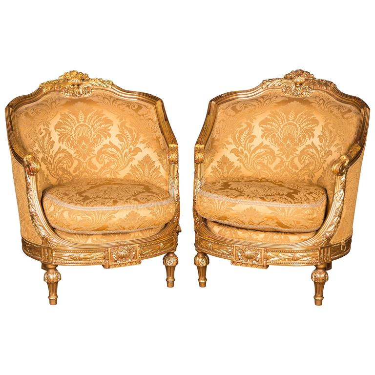 Two French Armchairs In The Louis Quinze Style For Sale At