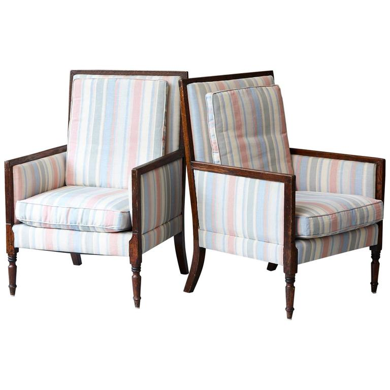 Pair of Italian Neoclassical Style Bergères in Pastel Striped Moiré Taffeta For Sale