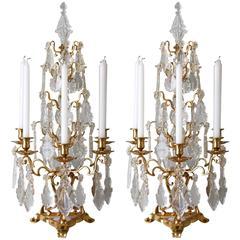 Monumental Pair of Antique French Gilt Bronze and Crystal Girandole Candelabra