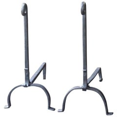 French Wrought Iron Firedogs or Andirons
