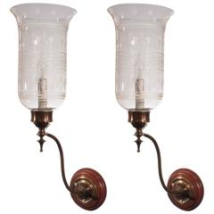 Pair of Antique English Hurricane Shade Wall Sconces with Acid Etching