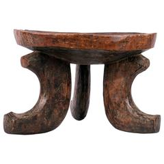 Three Leg Solid Wood Vintage Ethiopian Stool