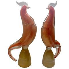 Monumental Vibrant Orange Pair of Murano Birds Attributed to Archimede Seguso