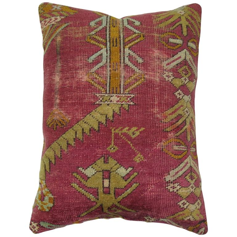 Turkish Ghiordes Rug Pillow from 19th Century Rug For Sale
