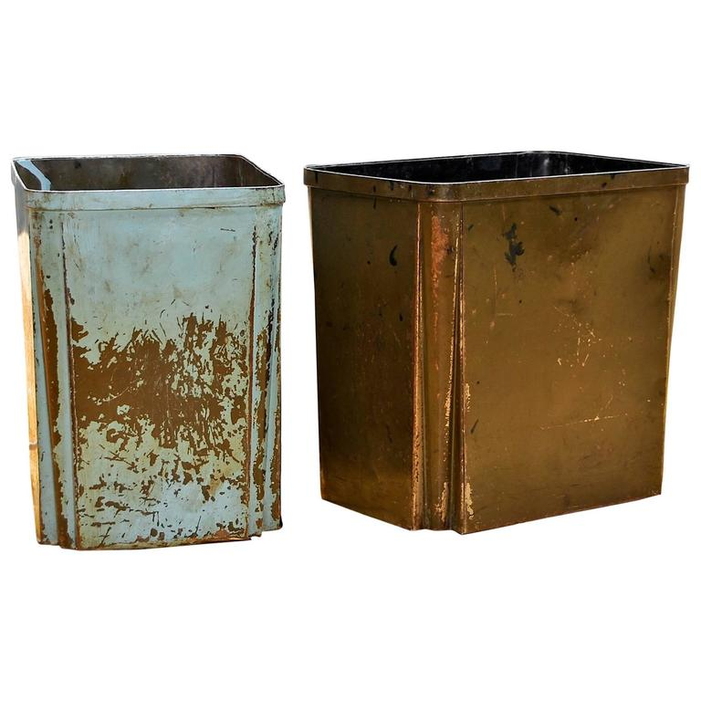 Art Deco Industrial Metal Factory Wastebaskets