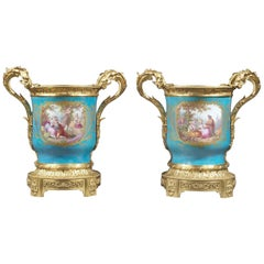 Louis XVI Style Sevres-Style Turquoise Ground Jardinières. French, circa 1870
