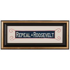 """""""Repeal & Roosevelt"""", Embroidered Armband Supporting the Repeal of Prohibition"""