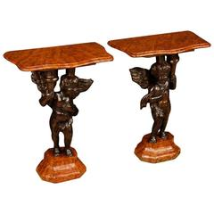 20th Century Pair of Italian Lacquered Side Tables with Little Angels Sculptures