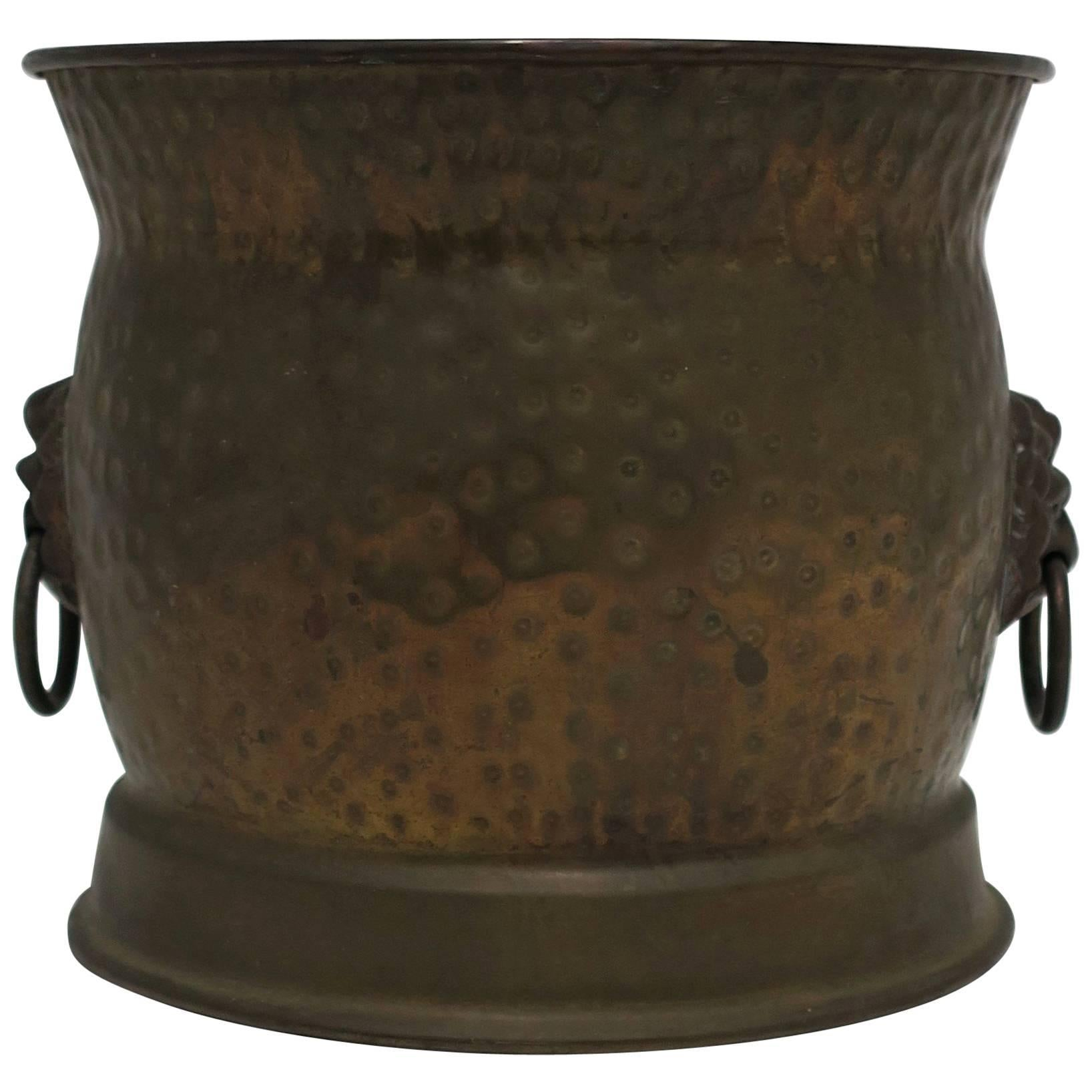 English Brass Plant Pot Holder Cachepot with Lion Head Detail, ca. 20th c.