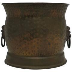 Vintage Brass Cachepot with Lion Head Detail