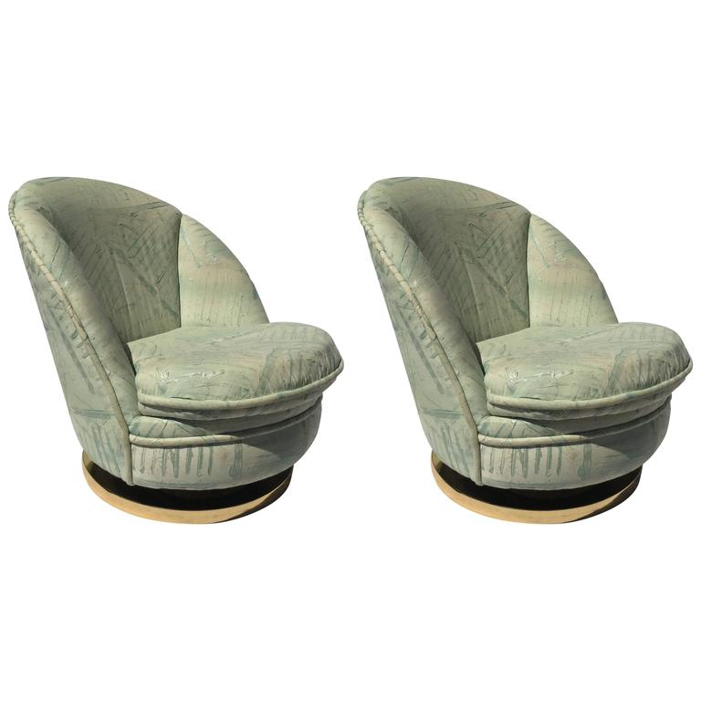 Pair of Milo Baughman Swivel Chairs with Brass Bases For Sale