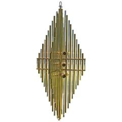 Large 1970s Brass and Lucite Hanging Lamp