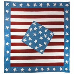 Outstanding Antique American Civil War Patriotic Flag Quilt, Diamond-in-a-Square