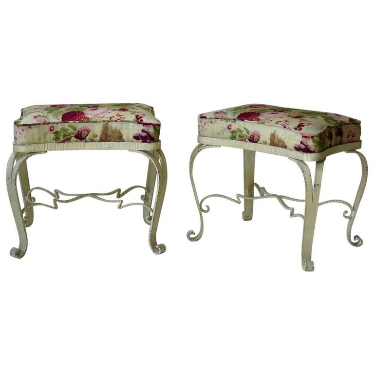 Pair of Luigi Colii Attributed Stools, Italy, 1940s