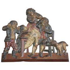19th Century Cast Iron Plaque Family Butchery Scene