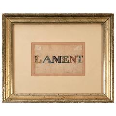 19th Century Watercolor of the Word Lament
