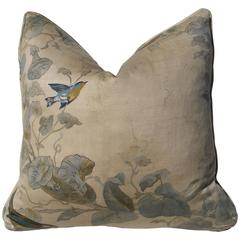Beautiful Autobon Themed Pillow of the Finest Linen, English