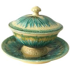 19th Century Majolica Palm Sugar Bowl Sarreguemines