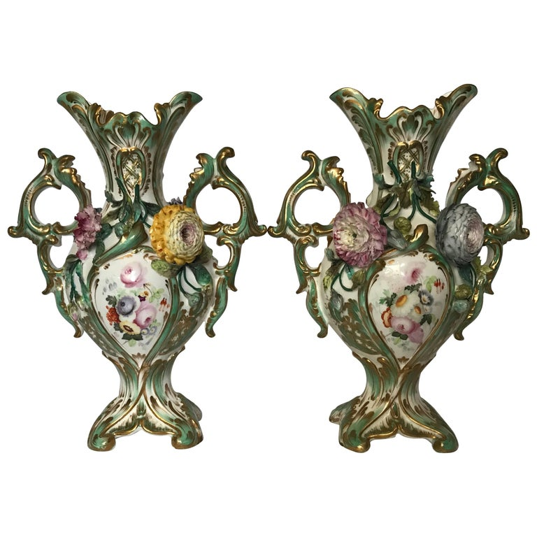 Pair Green and Gilt Painted Rockingham Vases For Sale
