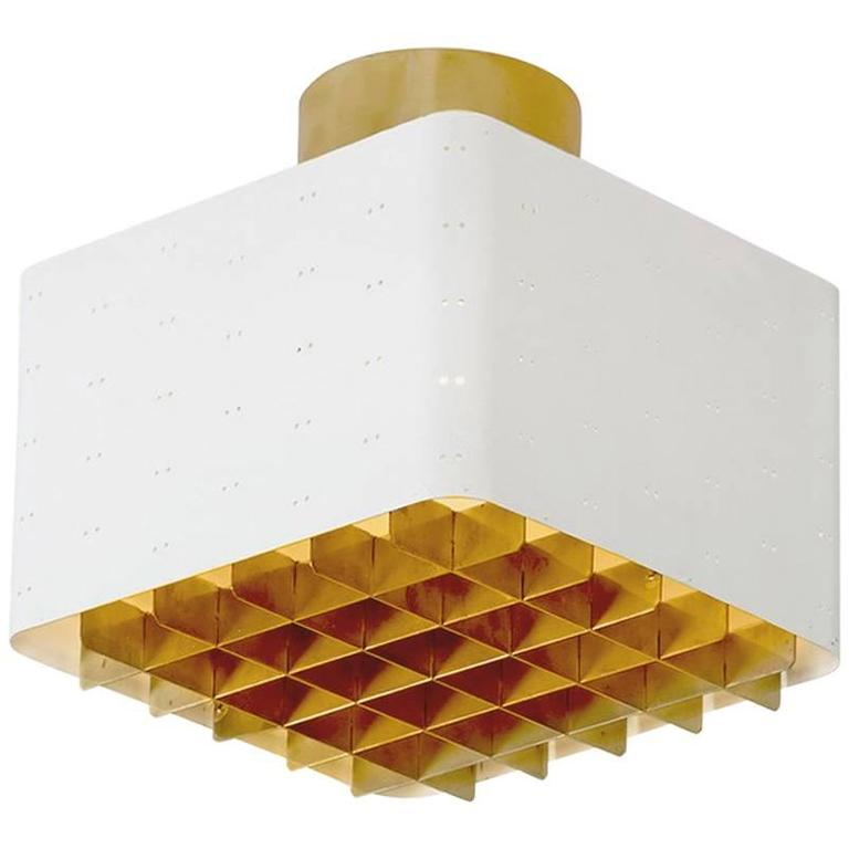 Paavo Tynell White and Brass Ceiling Lamp Model 9068 for Idman, Finland, 1950