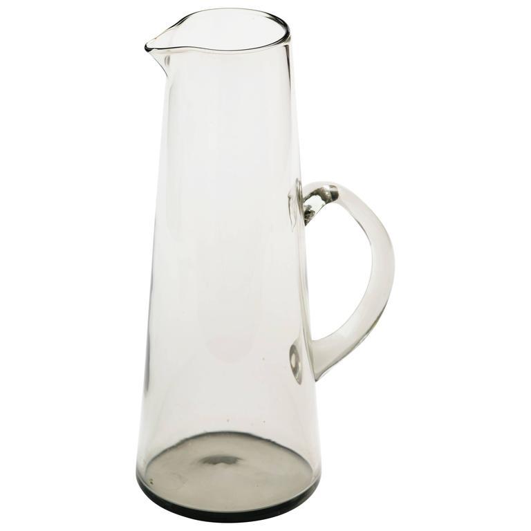 Scandinavian Modern Smoked Glass Vase / Martini Pitcher 1