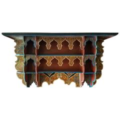 Tanger Moroccan Wooden Shelf All Hand-Painted