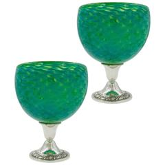 Pair of Colored Glass Bowls on Sterling Base