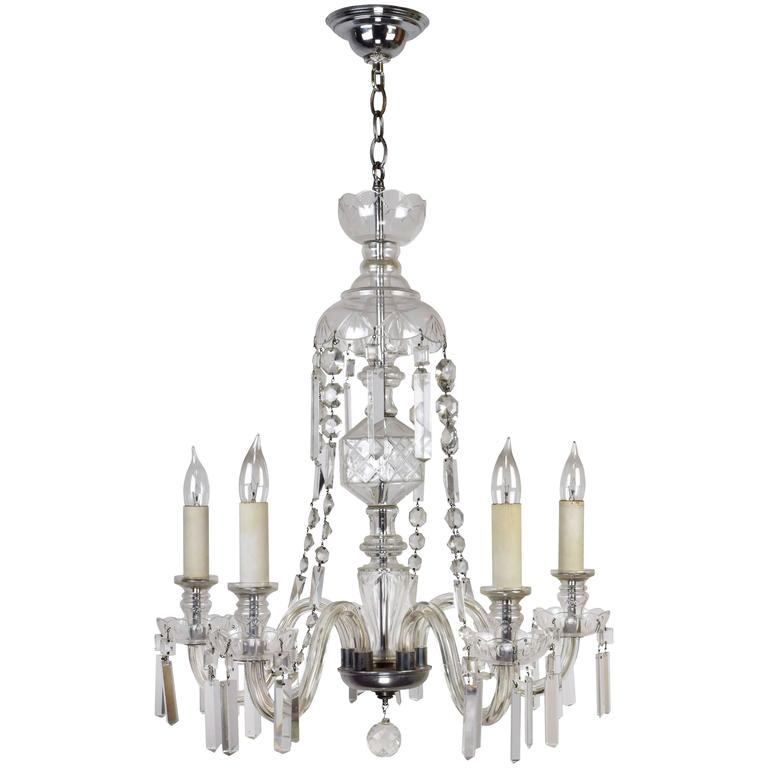 Five arm glass body crystal chandelier circa 1935 at 1stdibs five arm glass body crystal chandelier circa 1935 for sale mozeypictures Images