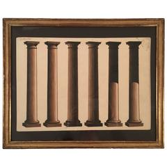 French Neoclassical Architectural Watercolor Study of Shadows on Columns