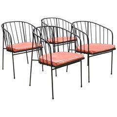 Mid-Century George Nelson for Arbuck Iron Rod Outdoor Set of Four Chairs