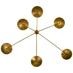 Mid-Century Modern Italian 'Spider' Wall Sconce in Natural Brass