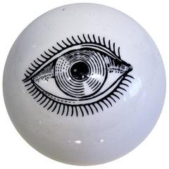 Rare Surrealist Piero Fornasetti Ceramic Eyeball Paperweight, Italy, 1960s