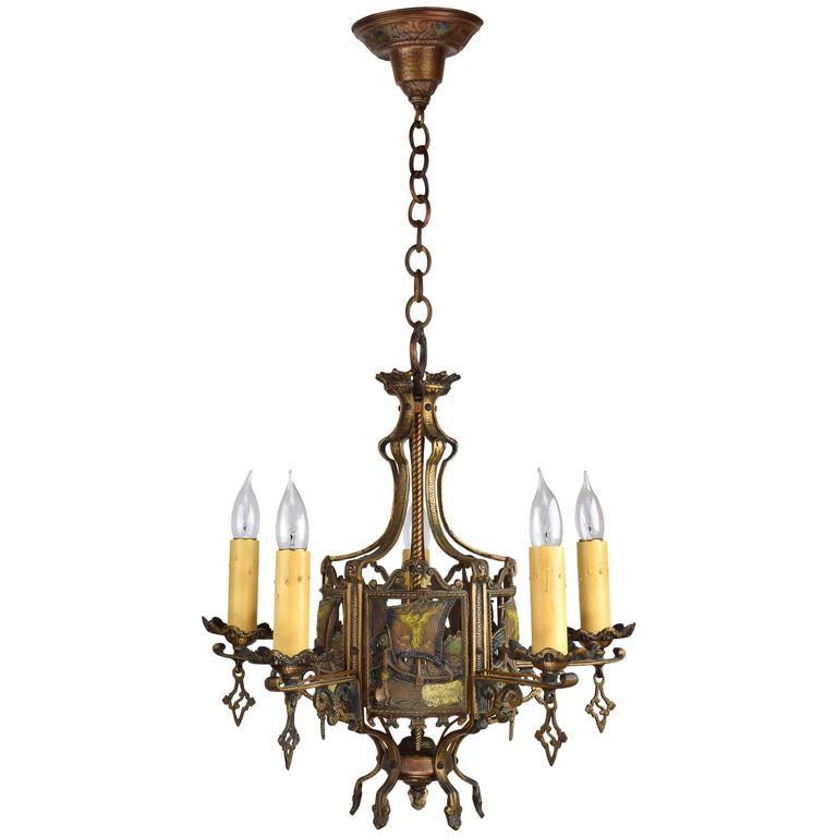 Cast Bronze Nautical Five Light Chandelier For Sale At 1stdibs