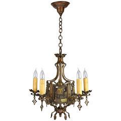 Cast Bronze Nautical Five-Light Chandelier