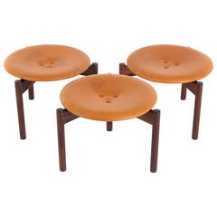 Uno & Östen Kristiansson Set of Three Rosewood and Leather Stools