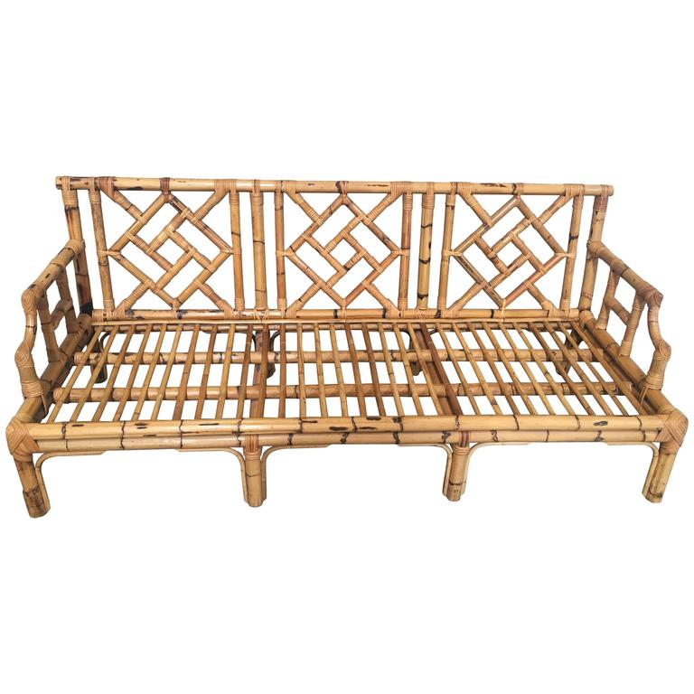 Italian Bamboo Sofa Intertwine Decoration on the Back and on Armrest from 1960s