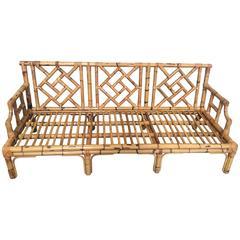 Italian Mid-Century Modern Bamboo Sofa with Intertwine Motifs from 1960s
